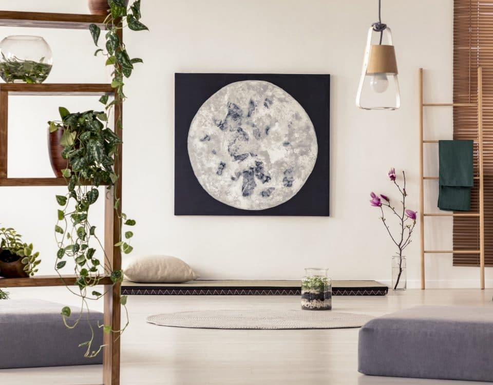 Moon painting above tatami mat bed in japanese style flat interi